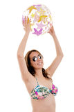 Bathing suit beach ball woman Royalty Free Stock Images