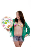 Bathing suit beach ball woman Stock Image