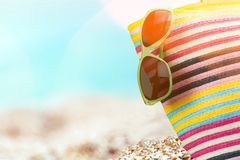 Bathing. Suit beach heart-shaped square aged sunglasses royalty free stock image