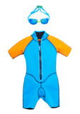 Bathing suit and goggles for swimming. On a white isolated background stock image