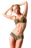 In a bathing suit with leopard pattern Stock Photo