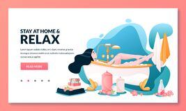 Free Bathing Time, Stay At Home And Relax Concept. Woman With Long Hair Takes A Bath With Foam. Vector Illustration Royalty Free Stock Photography - 178719357