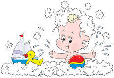 Bathing toddler Royalty Free Stock Images