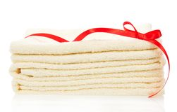 The bathing towels decorated with a tape Royalty Free Stock Images