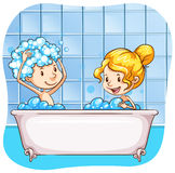 Bathing. Two people taking bubble bath together stock illustration