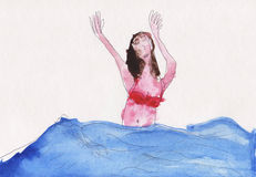 Bathing. Watercolor paint depicts a woman bathing in water Royalty Free Stock Photography
