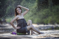 Bathing woman Royalty Free Stock Images