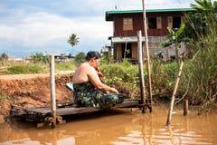 Bathing woman, Myanmar Stock Photography