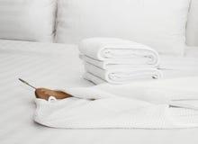 Bathrobe on the bed. White bathrobe on the bed royalty free stock photo