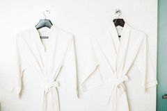 Bathrobe. Decoration in bathroom interior - Vintage light Filter Royalty Free Stock Photography