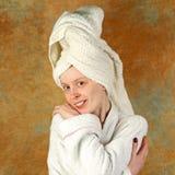 bathrobe dziewczyna Fotografia Stock