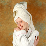 Bathrobe girl Stock Photography
