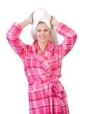 bathrobe kobieta Obrazy Stock