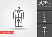 bathrobe Lijnpictogram met editable slag met schaduw vector illustratie