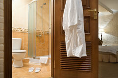 Bathrobe, shower cubicle. Royalty Free Stock Photo