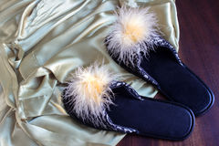 Bathrobe and slippers Stock Images
