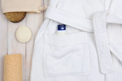 Bathrobe Soap and Luffa Royalty Free Stock Images