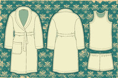 Bathrobe and unredwear for man.Vector illustration Royalty Free Stock Photography