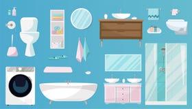 Bathroom установил мебели, гигиенических косметика, санобработки, оборудования и статей гигиены для bathroom Санитарные изделия у иллюстрация штока