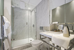 Bathroom. With a contemporary corner shower stock image
