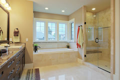 Bathroom. Luxury bathroom with granite countertops and flooring Stock Photo