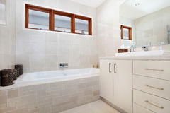 Bathroom. Interiors of a bathroom in a luxurious home Royalty Free Stock Images