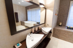 Bathroom. Comfortable bathroom in modern hotel Royalty Free Stock Images