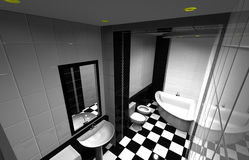 Bathroom. Computer design of bathroom. Wide-angle foreshortening. Black and white colour Stock Photos