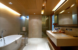 Bathroom. Master modern & Luxury bathroom interior with bathtub Stock Photo