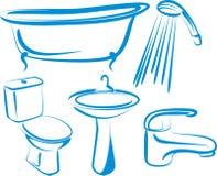 Bathroom. Illustration with set of bathroom elements royalty free illustration