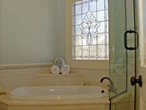 Bathroom. The design of a bathroom must account for the use of both hot and cold water, in significant quantities, for cleaning the human body Royalty Free Stock Photography