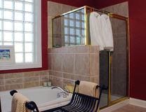 Bathroom. The design of a bathroom must account for the use of both hot and cold water, in significant quantities, for cleaning the human body Stock Images