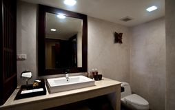 Bathroom. Interior with white sink and mirror Royalty Free Stock Photos