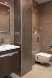 Bathroom. Modern bathroom with a mosaic column Stock Photography