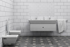 Bathroom. 3d render of cheap bathroom interior Stock Images