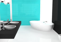 Bathroom. Modern luxurious bathroom with contemporary design and furniture, colored in black, cyan and white, 3d rendering Royalty Free Stock Image