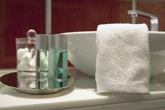 Bathroom. Modern bathroom, washbasin with vanity and towel Stock Photo