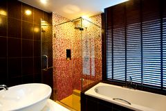 Bathroom. Modern bathroom with shower cubicle, wash bowl and bathtub Stock Photo