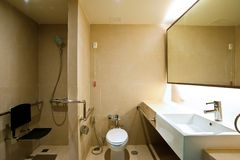 Bathroom. A patient bathroom in a private hospital  room Royalty Free Stock Images