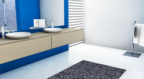 Bathroom. Modern bathroom with contemporary design and furniture, colored in blue, maple and white, 3d rendering Stock Photo