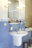 Bathroom. Modern Bathroom with blue tile stock photography