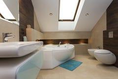 Bathroom. Interior of contemporary bathroom with huge bathtub Stock Photo