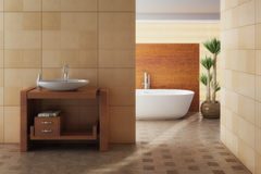Bathroom. Beautiful modern, harmonic, beige bathroom Stock Image