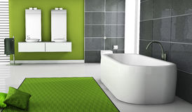 Bathroom. Home interior of a modern green bathroom with contemporary bathtub design, black granite tiles, pillows and white floor, 3d rendering Royalty Free Stock Photography