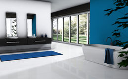 Bathroom. Contemporary bathroom with modern design and furniture, colored in blue and white with park view, 3d rendering Stock Photography