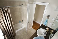 Bathroom. From above showing sink tub and toilet Stock Image