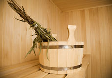 Bathroom. Wooden wash-tub in steam bathroom Stock Image