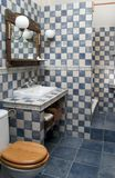 Bathroom. Rustic bathroom white and blue-coloured stock photos