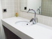 Bathroom. Empty bathroom with mirror, tap and sink Royalty Free Stock Photography