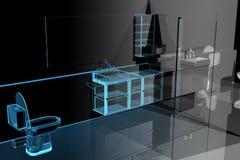Bathroom (3D xray blue) royalty free illustration